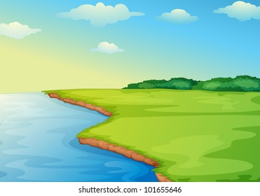 Illustration of open grass field on waters edge - EPS VECTOR format also available in my portfolio.
