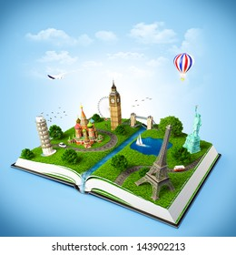 illustration of a opened book with famous monuments. traveling