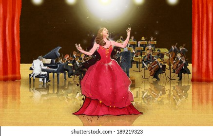 Illustration of opera singer