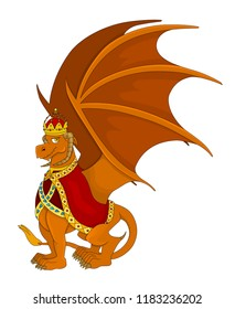 Illustration of an orange royal dragon with crown and cape, isolated on a white background
