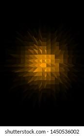 Illustration orange sharp crystal with spikes artwork on black background