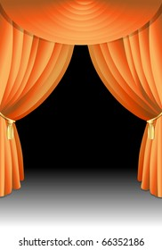 illustration of an orange stage curtain and background