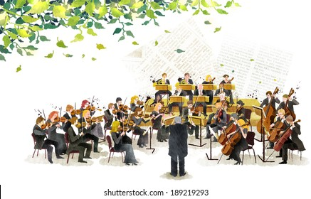 Illustration of orchestra