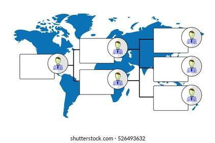 Illustration of organogram with world map