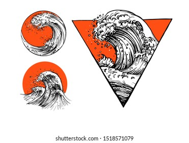 illustration of oriental tattoo waves sketch set. Japanese ocean or sea water waves drawing with sun and geometric figures like triangle, circle in Asian style. Vintage hand drawn style.