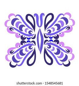 Illustration. Ornament. Butterfly. White background. Beautiful picture