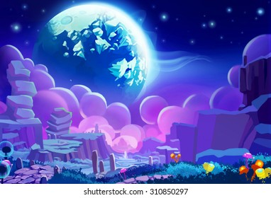Illustration: The Other planet's Environment. Realistic Cartoon Style. Sci-Fi Scene / Wallpaper / Background Design.