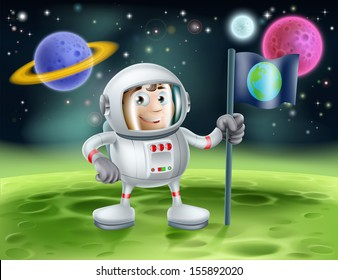 An illustration of an outer space cartoon background with a cute cartoon astronaut planting an earth flag on an alien world