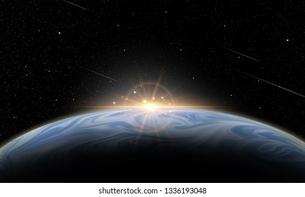 illustration of outer space, planet and star for background