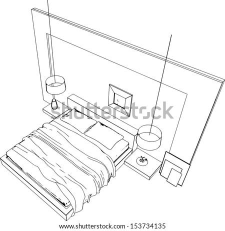 Illustration Outline Sketch Interior 3 D Graphical Stock
