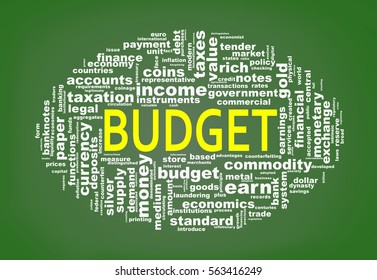 Illustration of oval shape wordcloud tags of  budget concept