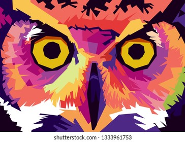 illustration from owl eyes in pop art style. its can use for a background or walpaper