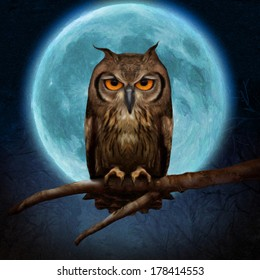Illustration of an owl on a background of the moon fairy