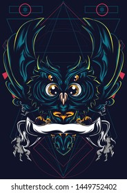 Illustration of owls with background sacred geometry. Has a combination of gold and blue lights