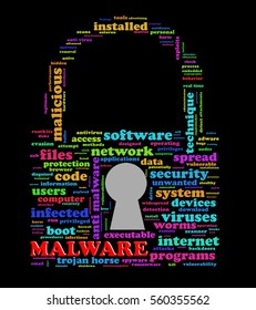 Illustration of padlock shape wordcloud tags of malware concept