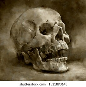 illustration painting of Creepy human skull for horror, Halloween or death themed concepts, digital art style