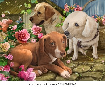 illustration painting group of dogs and flowers , Drawing ,Hand drawn home pet.digital art style
