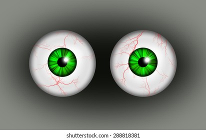 A illustration of a pair of blood shot eyes.