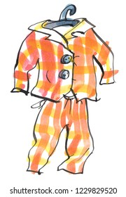 illustration of a pair of yellow and orange checked classic pyjamas on a hanger