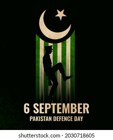 Illustration of Pakistan Defence Day, 6th September, Pakistan flag, a soldier with rifle and helmet and Airforce craft.