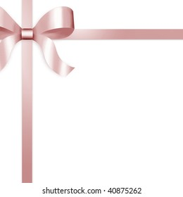 Illustration of pale pink satin ribbon, tied with bow on upper left side of frame.  White background provides copy space.