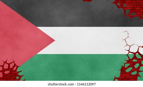 Illustration of a Palestinian flag, imitation of a painting on the cracked wall