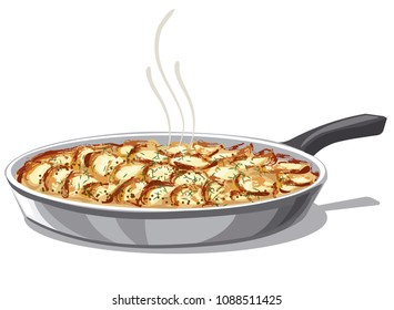 illustration of pan with roasted and baked potatoes