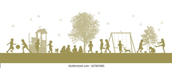illustration of a panoramic scene of children playing together on the playground