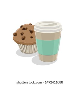 Illustration of Paper Coffee Cup and Muffin Breakfast isolated on a white background