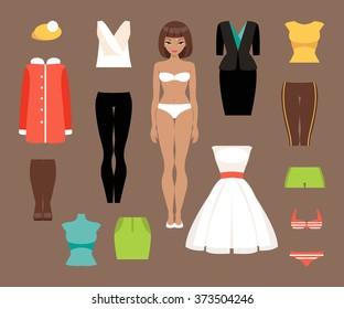 Illustration of a paper doll with different clothing styles