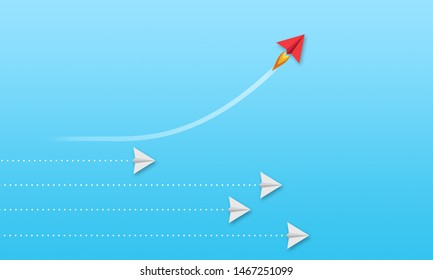 Illustration mit Papierflugzeugen auf buntem Hintergrund - Metapher für Unternehmenslösungen und Führungsqualitäten