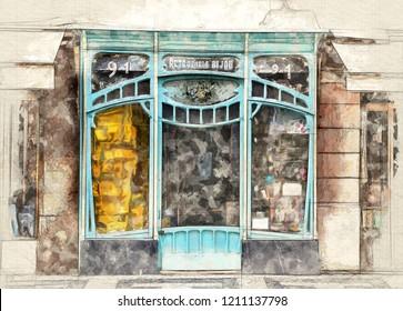 Illustration of a  Parisian art nouveau window shop