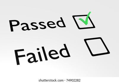 Illustration of passed and failed text with boxes and a green tick in the passed box