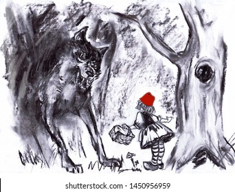 Illustration of pastel graphics to a fairy tale Little Red Riding Hood. Meeting with the wolf.