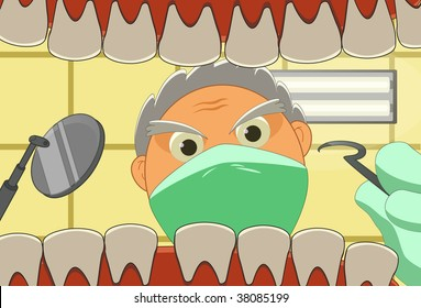 Illustration of patient and dentist who is working.