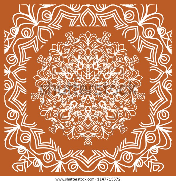 illustration. pattern with floral mandala, decorative border. design for print fabric, bandana
