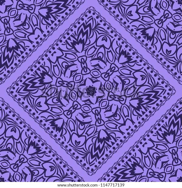 illustration. pattern with floral mandala, decorative seamless ornament. design for print fabric, bandana.