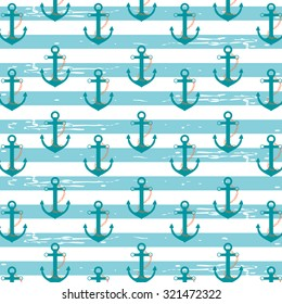 Illustration pattern with nautical ship anchors in a light blue stripped background./Nautical Anchors