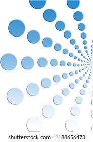 Illustration of pattern of retro blue polka dot, flowers-fileworks style, on white background