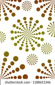 Illustration of pattern of retro golden polka dot, flowers-fileworks style, on white background