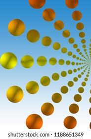 Illustration of pattern of retro golden polka dot, flowers-fileworks style, on blue background