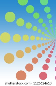 Illustration of pattern of retro rainbow polka dot, flowers-fileworks style, on blue background
