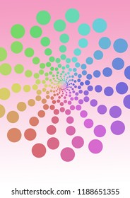 Illustration of pattern of retro rainbow polka dot, flowers-fileworks style, on pink background