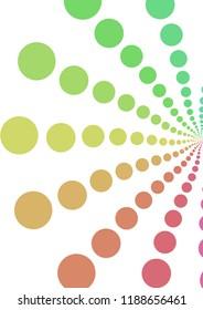 Illustration of pattern of retro rainbow polka dot, flowers-fileworks style, on white background