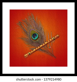 Illustration of peacock feather and flute hindu religious decorative texture abstract background 3D wallpaper. Graphical poster modern art