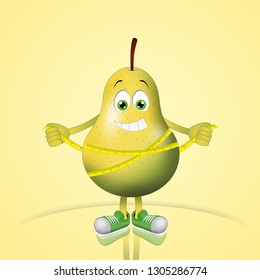 illustration of a pear on a diet