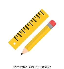 Illustration  Pencil And Ruler Icon