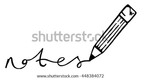 illustration pencil word notes stock illustration 448384072