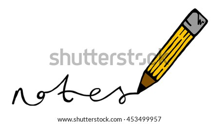 illustration pencil word notes stock illustration 453499957