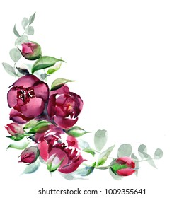 Illustration of peonies color of marsala watercolor pattern on isolated background